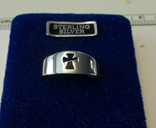 size 11 Sterling Silver Cut Out Cross 7 mm wide Ring (Cut Small Cross Out Ring)