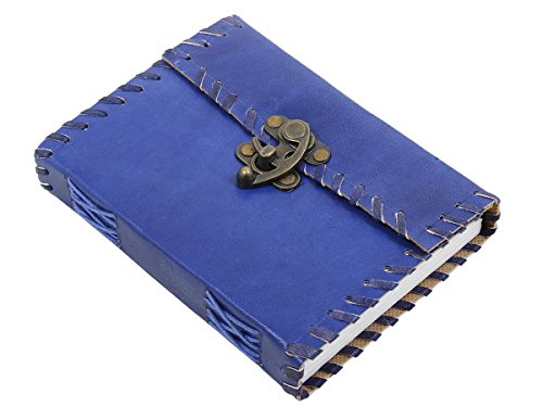 Black Friday Blue Leather Journal Travel Diary Notebook with a Metal Lock & 200 Unlined Eco-friendly Pages - 7 x 5