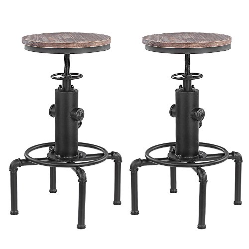 IKAYAA Industrial Bar Stool Adjustable Metal Swivel Pinewood Top Kitchen Dining Chair, Set of 2 Swivel Bar Stools