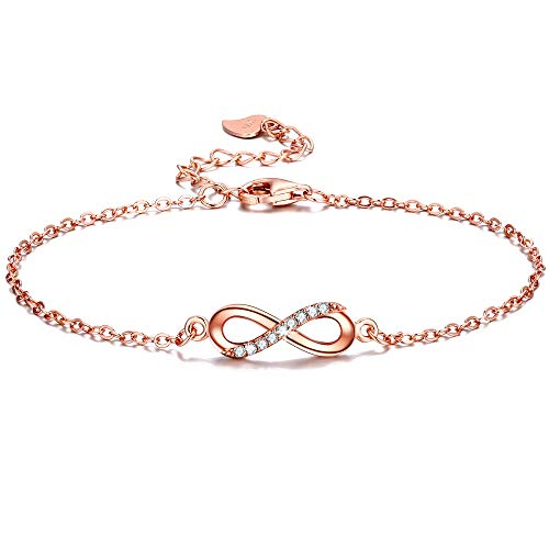 F.ZENI Women Link Bracelet 925 Sterling Silver Infinity Forever Love Accent Adjustable Charm Chain with Gift Box,6.5-7.7 Inch,Plating 18k White Gold and Rose Gold Colours