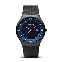 BERING Time Men's Solar Collection Watch with Mesh Band and scratch resistant sapphire crystal. Designed in Denmark. 14440-227