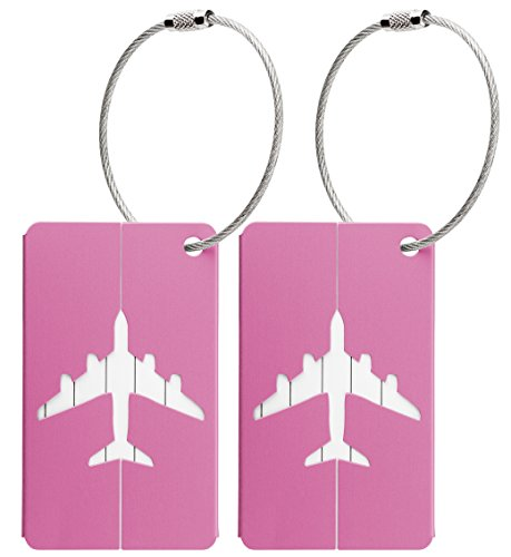 ags with Name and Address Label - Pink Metallic (Airplane Luggage Tag)