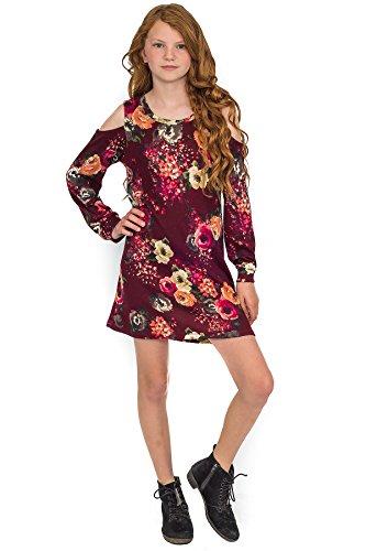 - Truly Me Big Girls Long Sleeve Knit Chic A-Line Dress, 7-16 (7, Burgundy)