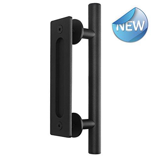 """l Flush Belegance Gate Handle Sliding Barn Door Handle Set Door Handle Barn Door Hardware Handle Black (12"""") (Black) (Door Pull 1' Finish)"""