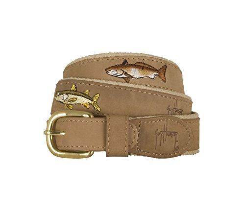 Guy Harvey Leather Belts - Backcountry Slam - Khaki (30)