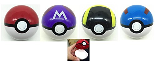 Pokeball Opens Up Plastic Toy Ball 4 pc Set