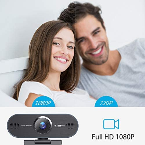 Web Camera, HD Streaming Webcam 1080P 60FPS, Laptop Desktop Computer Camera with Noise Reduction Microphone, Compatible with Zoom/Skype/Facetime/Teams/OBS, for Recording, Calling, Conferencing, Gaming