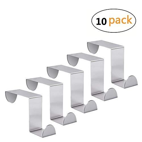 Elife Set of 10 Over Door Hooks Stainless Steel Towel Hanger Space Saving Organizer (Steel Reversible Over Door Hook)