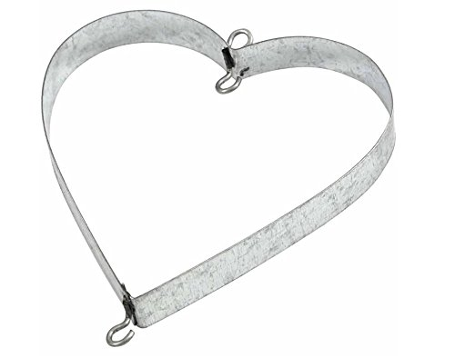 6 Galvanised Metal Hearts with Hooks for Crafts - 7cm | Metal Wire & Craft ()