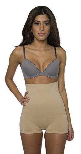 Shorty Boyshorts Panty (kathy ireland Women's Microfiber High Waist Boyleg Brief Shapewear Large Nude)