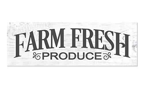 Farm Fresh Produce Distressed White Wood Wall Sign 6x18