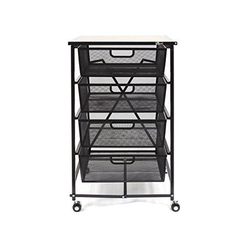 Furniture Four Drawer (Origami Dfs-04-Black 4 Tier Drawer Wood Shelf, Black)