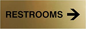 Signs ByLITA Basic Restrooms Right Arrow Directional Sign (Brushed Gold) - Large