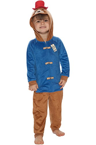 Paddington Boys' Toddler Bear One Piece Critter Pajama, Blue, -
