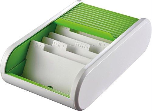 Helit H6218050 Visitenkartenbox Colours für 300 Karten, transluzent grün