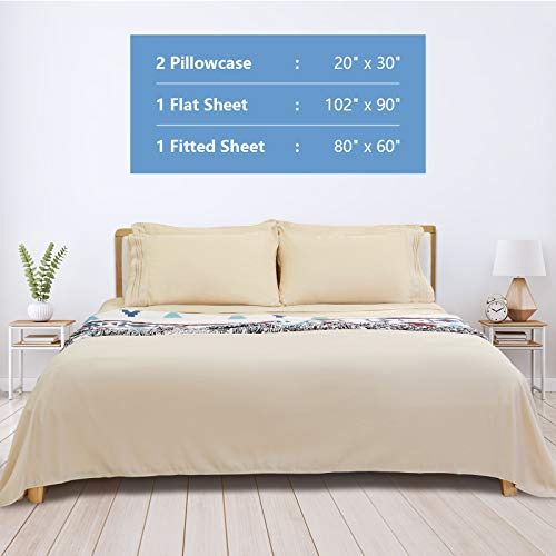 Queen Bed Sheet Set, 16-inch Deep Pocket Sheet, 4 Piece Hotel Luxury Soft Bedding Sheets, Beige, 1800 Thread Count Brushed Microfiber Sheet, Breathable Stay Cool Sheets, Resistant Fade Wrinkle.