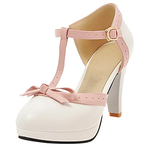 Bows Janes Sandals Toe Closed Cute Bar Women's Artfaerie White Pumps Mary Heels T High AfnU1z