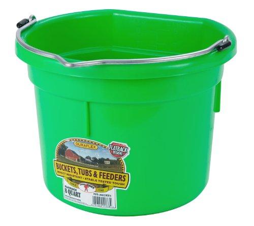 Miller Flat Back Plastic Bucket - Miller Manufacturing P8FBLIMEGREEN Plastic Flat Back Bucket for Horses, 8-Quart, Green