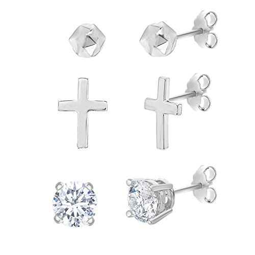 Lesa Michele Womens Ball, Cross and Round Cubic Zirconia 3-Pair Stud Earring Set in Sterling ()