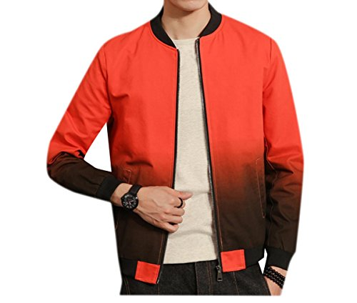 Orange2 Men's Outwear Coat Gradient Baseball Size Plus Jacket All Match Doufine 1Hv4wBqTB