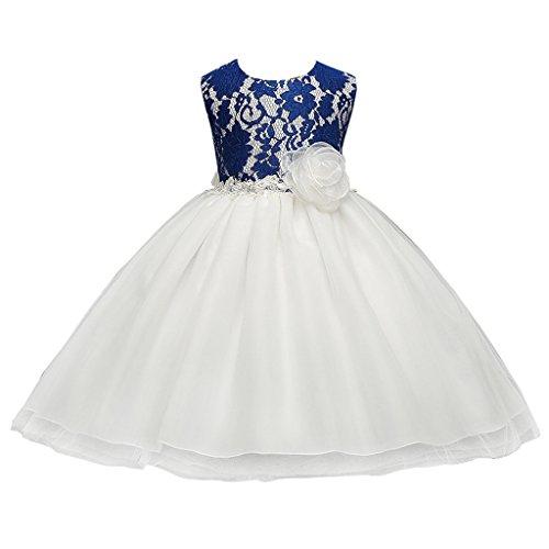 FantastCostumes Girl's Vintage Lace Flower Tutu Princess Party Dress(Blue, Medium(2-3T)) - Fancy Dress Up Clothes