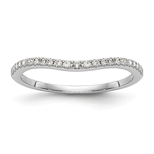 JewelrySuperMart Collection 1/6 CT 14k White Gold Curved Diamond Wedding Band. 0.15 ctw.