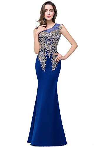 MisShow Women's Rhinestone Long Lace Mermaid Evening Dresses,Royal Blue,Size 2