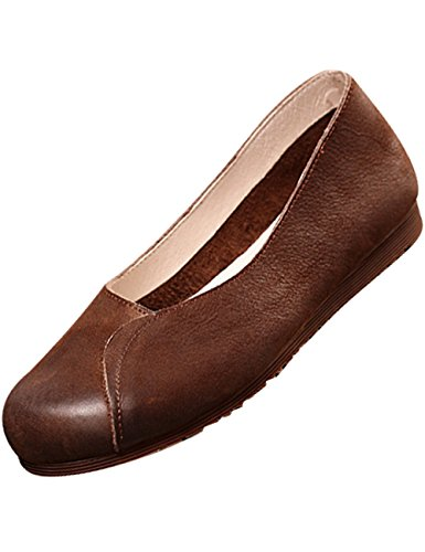 Ballet Suture Flats Handmade Zoulee Shoes Women's New Flat Exquisite Shoes Coffee Leather Zq660px8