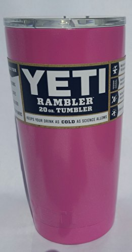 Yeti Rambler, Stainless Steel, Powder-coated, Custom Colors (Bubblegum Pink Shimmer) (20 ounce)