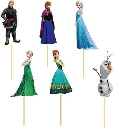 Frozen Themed Birthday Cake (Set of 24 Pieces Frozen Cake Cupcake Decorative Cupcake Topper for Kids Birthday Party Themed)
