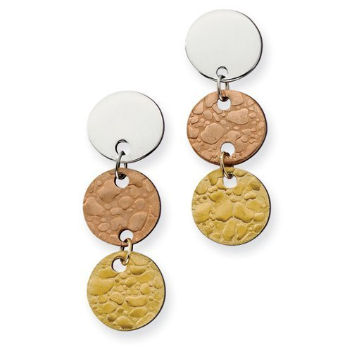 Chisel Stainless Steel Rose IP & Gold IPG-plated Circle Earrings
