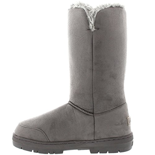 Winter 37 Lined Grey Button Boot Snow EA0155 Fur Fully Womens Waterproof Triplet 6 A18Pq