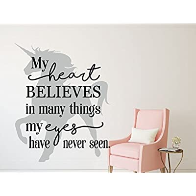 Unicorn Wall Decor - My Heart Believes In Many Things My Eyes Have Never Seen - Vinyl Wall Decal Quote for Bedroom, Playroom or Bathroom - Kids Home Decorations: Handmade