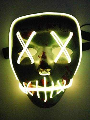 Weshow LED Personality Glowing Mask Halloween Carnival Ghost Dance El Fluorescent Decorative Props (Yellow)