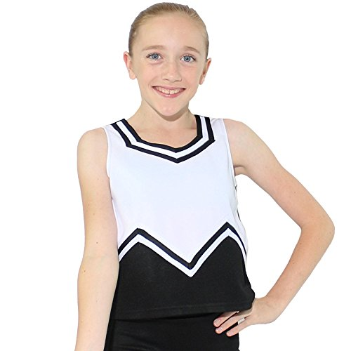 Danzcue Girls M Sweetheart Cheerleaders Uniform Shell Top, Black/White, X-Small