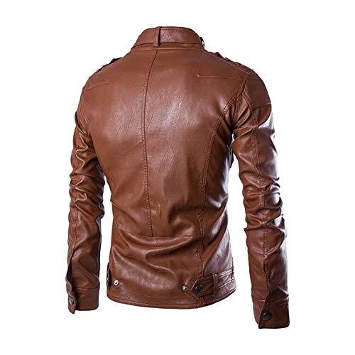 Huixin Motorcycle Faux Coat Jacket Vintage Fashion Leather Autumn Biker Jacket Men's Leather Fit Collar Outwear Sleeve Jacket Jacket Long Stand Braun Apparel Slim Winter rwZrqfPW4