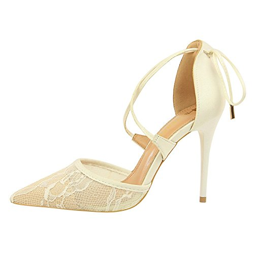 ZHANGYUSEN Verano Nuevo Encaje Zapatos High-Heeled Cruz, Lazos, apuntó y High-Heeled Zapatos, y un par de Baotou Ladies' Sandalias. Negro