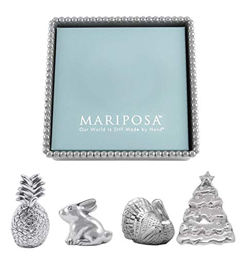 Mariposa Pineapple - Mariposa Beaded Napkin Box and Set of 4 Napkin Weights - Turkey, Rabbit, Pineapple, and Christmas Tree