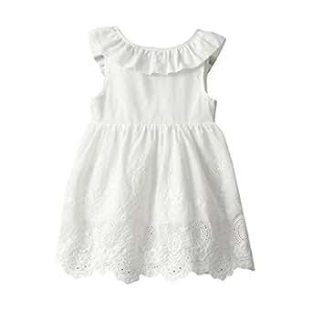 ❤️ Vestidos Niñas Verano, Princesa de Las Niñas Bebés Vestidos de Fiesta Sin Mangas de Tutú Sin Mangas Absolute (2-3 Años, Blanco)