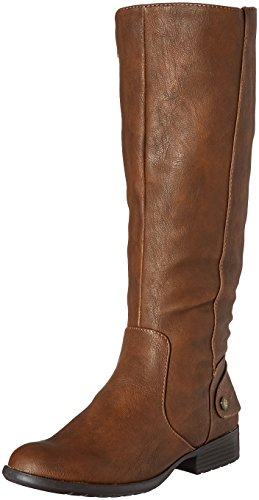 LifeStride Women's Xandywc Riding Boot- Wide Calf, Dark Tan, 7.5 M US Image