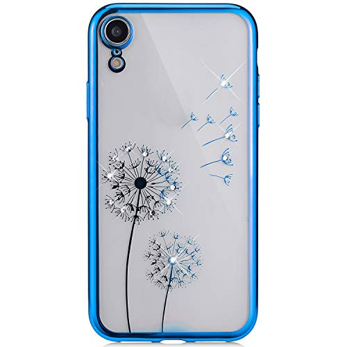 Compatible with iPhone XR Case,PHEZEN Dandelion Bling Crystal Rhinestone Diamonds Glitter Clear Soft TPU Case Silicone Gel Rubber Bumper Protective Case for iPhone XR, Blue ()