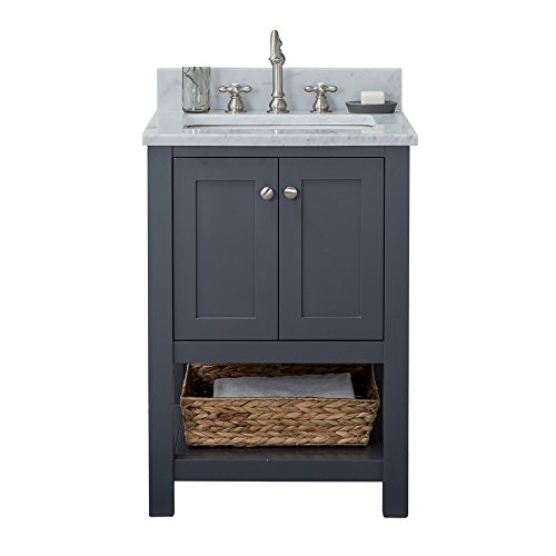 - Alya Bath HE-102-24-G-CWMT Wilmington Single Bathroom Vanity with Carrera Marble Top and No Mirror, 24