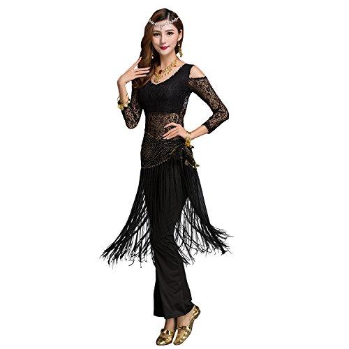 New Tribal Belly Dance (Segbeauty Belly Dance Hip Wrap Hip Scarf Hip Shakers New Tribal Sequins Fringe Tassel Costume Shawl Fringe Skirt Wrap)