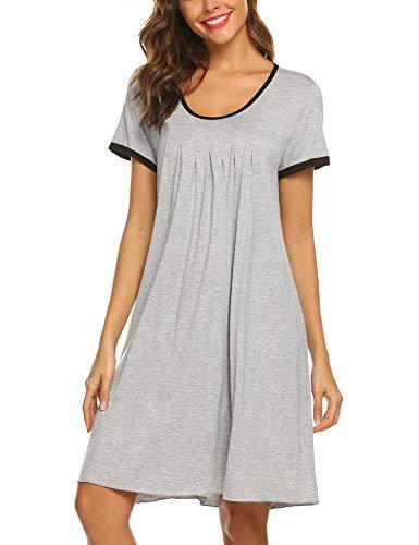 Ekouaer Women's Sleepwear Casual Round Neck Nightshirt Short Sleeve Nightgown Grey L