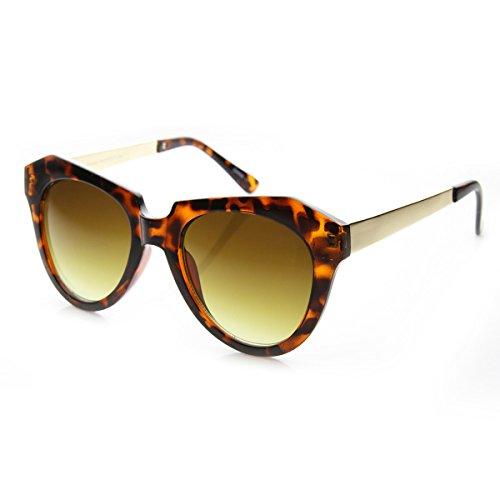 zeroUV - High Fashion Oversized Angular Edge Geometric Bold Cat Eye Sunglasses (Shiny-Tortoise-Gold - Frames Angular