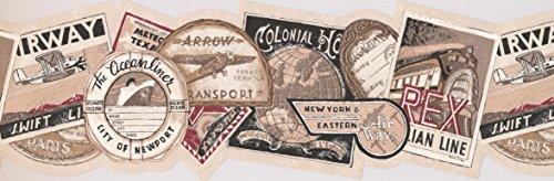 Vintage Travel Tags Wallpaper Border