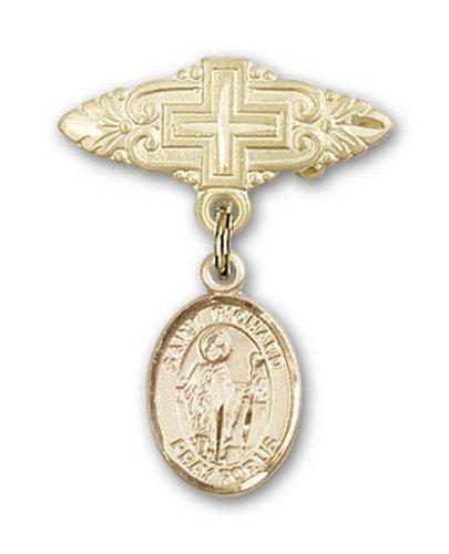 Icecarats Or Bijoux De Créateurs Rempli R. Richard Broche De Badge Charme Avec Une Croix X 3/4