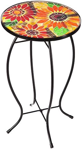 Evergreen Garden Outdoor-Safe Sunflowers Faux Mosaic Glass and Metal Side Table