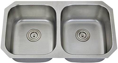 Extra Thick 16 Gauge Durable & Unbeatable Deal Aquarius 32''x18''x9'' Double Bowl Undermount Stainless Steel Kitchen Sink 611 by Aquarius
