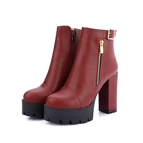 Allhqfashion Women's Round Closed Toe High-Heels Soft Material Low-top Solid Boots Claret GWmWj